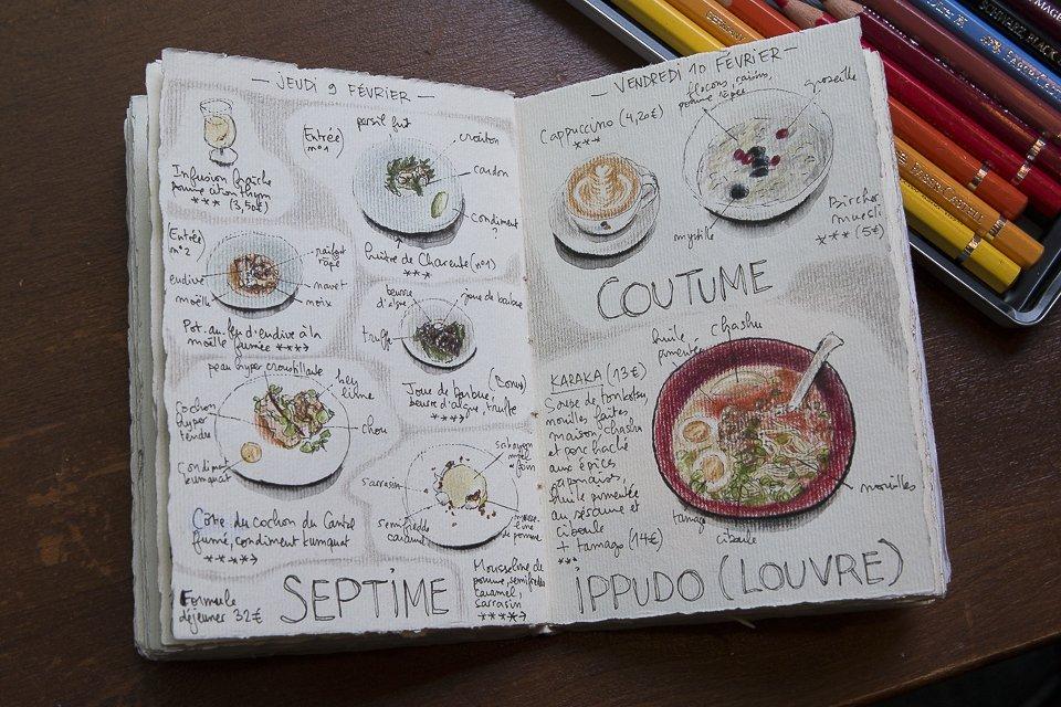 carnet de dessins du restaurant septime