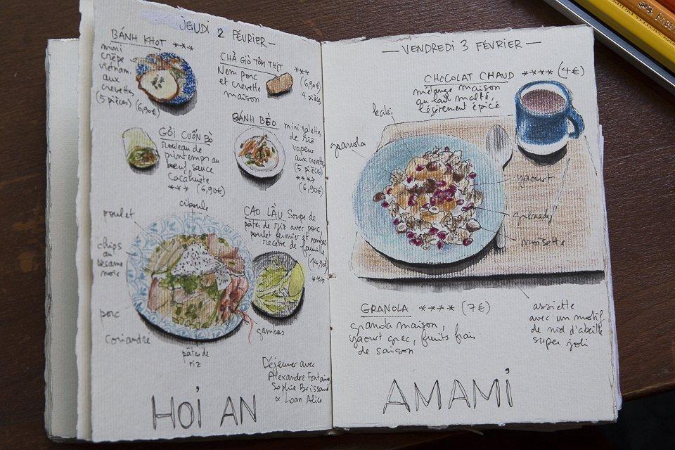 carnet de dessins du restaurant amami
