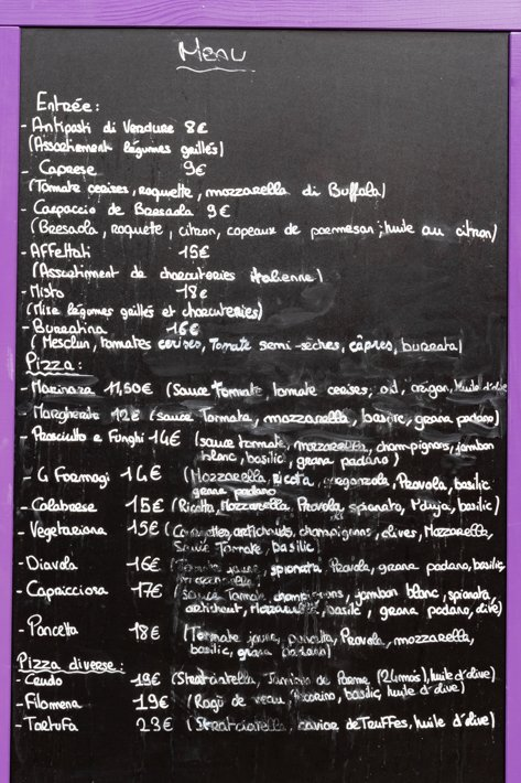 menu et carte Filomena