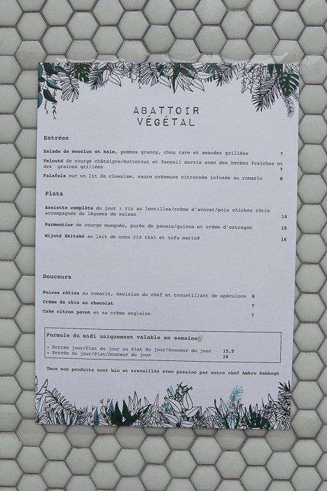 menu du restaurant l'Abattoir végétal