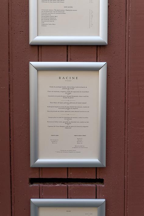 carte du restaurant Racine à Lectoure